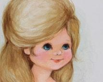 Vintage Precious Moments Hallmark Original  Watercolor Jan Andrews Blue Eyes Little Girl Big Eyes 1970s Blonde Artwork