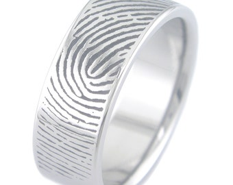 Custom Fingerprint ring in Titanium