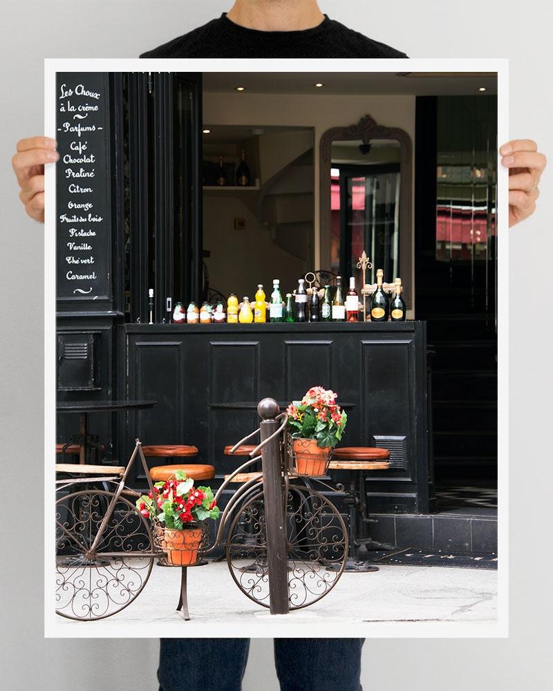 """SALE! Large Paris Print, Extra Large Wall Art Print, """"Odette""""  Black Paris Decor, Paris Photography, Large Print, Paris Cafe Photo"""