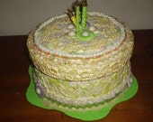 Fake Cake Centerpiece/Gift Box for Birthday Gift in yellow and lime with candles on top