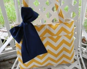 Yellow Chevron Tote Bag, Every Day Bag, Diaper Bag with  Navy  Blue Sash Bow Ready to Ship