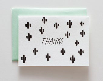 Cactus Black - Letterpress Thank You Card - CT097