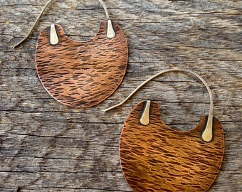 Boho-Chic Copper and Sterling Earrings