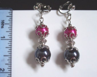 Handmade pink and grey dangle earrings (pierced & clip-on)