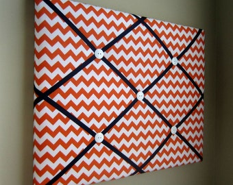 "Orange Chevron 16""x20"" Memory Board, Bow Board, Bow Holder, Photo Display, Business Card Display, Vision Board, Dream Board, Pin Board"