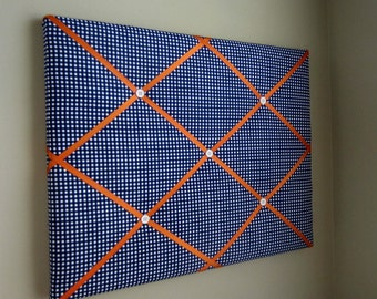 "Navy Blue & Orange Gingham 16""x20"" Memory Board Bow Board Bow Holder Photograph Holder Ribbon Board Memo Board Vison Board-Made To Order"