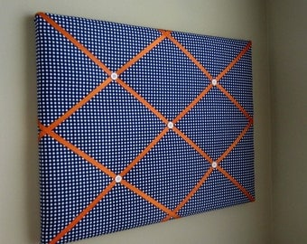 Navy Blue & Orange Gingham 16x20 Memory Board Bow Board Bow Holder Photograph Holder Ribbon Board Memo Board Vison Board-Made To Order