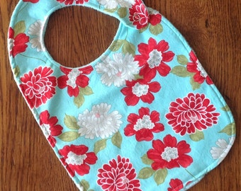 Red and White Flower Minky Baby/Toddler Bib - Last One