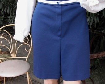 1970s Navy Blue Polyester Shorts / Sears Fashions / LADIES SHORTS