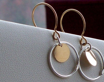 Gold and Silver Mix up earrings on 14 Karat gold fill wire handmade ear wires