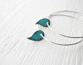 Big Hoops Blue Drop Charm - large hoops - sterling silver hoop earrings, verdigris leaf charms, made in Italy