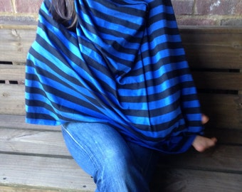 Royal and Navy Stripe Nursing Poncho, Carseat Canopy, Infinity Scarf for Breastfeeding