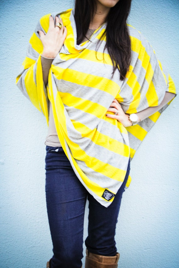 Yellow and Gray Nursing Cover for New Moms // Nursing poncho-Full Coverage-Poncho-Modern-Privacy-Breastfeeding // Mother's Day Gift