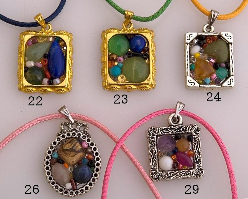 Mosaic pendant treasury chest gemstone mosaic jewelry frame pendant colorful pendant framed stone pendant frame necklace Israel art GP16-29