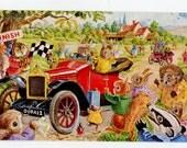 "Helps postcard - Dressed animal fantasy, The ""Old Crock's Race,  vintage postcard by Racey Helps, Pk 385, Medici postcard"
