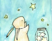 Nursery Art -- Trafalgar Rabbit Catch A Falling Star -- Art Print