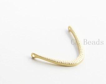 4pcs Matte 16K Gold Plated Base Metal Links - Crescent 29x21mm (298C-Q-209)