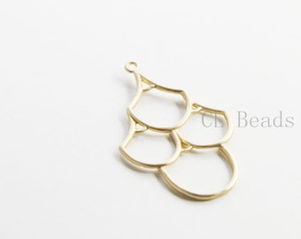 One Piece Matte Gold Plated Brass Base Findings-34x21mm (7083C-S-164)