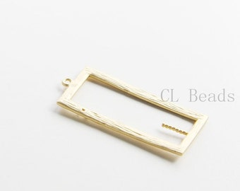 2pcs Matte 16K Gold Plated Brass Base Charms-Rectangle 34x15mm (7116C-S-166)