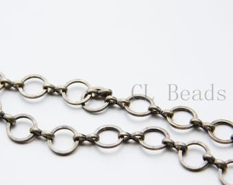 One Foot Oxidized Brass Hand Linked Chain-Ring 9x1.10mm (1807C02)