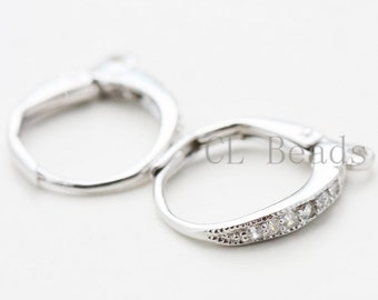 One Pair of  S925 Sterling Silver Clear Cubic Zirconia Lever Back Earring Hook - 16x12mm (756)