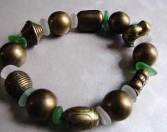 Sea Glass Bracelet - Brown Sea Glass - Assorted Beach Glass - Beach Glass Jewelry