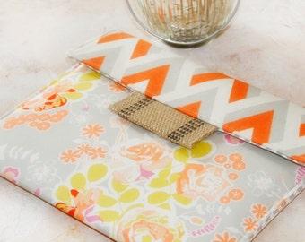 iPad Envelope Case, Ipad Case, Ipad Sleeve, Ipad mini envelope cover, case, ipad Cover in Tangerine Tango