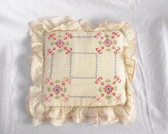 1920's Vintage Yellow Boudoir Pillow with Embroidery and Ruffles