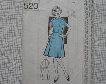 """1960s Dress with Long or Short Sleeves - 36"""" Bust - Sunday People 520 Sewing Pattern"""