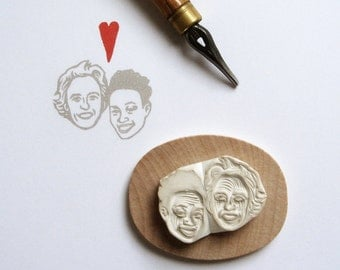 Valentine gift Custom portrait couples personalized stamp / hand carved rubber / for wedding marriage gift for her thank you return address
