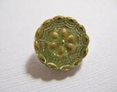 18mm Bohemian Czech Glass Button Flower motif, Chartreuse with Gold Trim - B/095