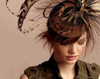 Large pheasant fascinator - kentucky derby pheasant hat - pheasant feather couture cocktail hat