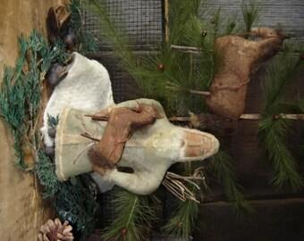 Primitive Folk Art Santa and Horse Ornament