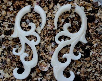 Fake Gauge Earrings - Organic Water Buffalo Bone Fancy Floral Tribal Expanders Hand Carved Fake Piercings
