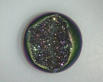 Titanium Agate Drusy round cab, metallic green on sides, 21.5mm, 26.99 carats             096-17-003