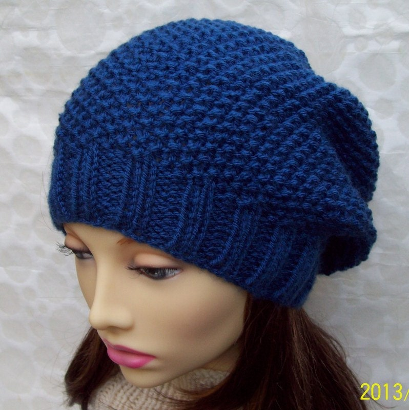 Knitting Pattern For Slouchy Hat : KNITTING PATTERN/ROXANNE Womans Slouchy Hat in Textured Seed