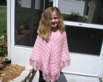 Knitted Poncho, Girls Large - Soft Pink