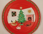 XMAS TIN TRAY Vintage 1940s -50s charming Christmas Scene brilliant colors red and green  app 19 in diam great condition