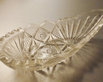 Crystal BOWL Boat shaped  lead  Cut GLASS  Beveled Faceted Clear very heavy app 8.5 X 43 3/4 X 2 1/4