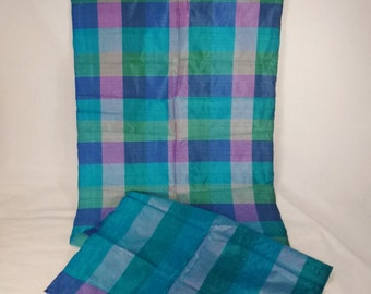 Raw  Silk SCARF 1950s  Color SQUARES  Designer  Signed 38 X 12 hand hemmed Thailand Siam