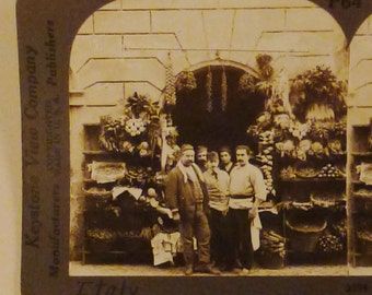 Antique  KEYSTONE Photo 1900s GREENGROCERS Delicasies of the Season Rome Italy  7x3.5