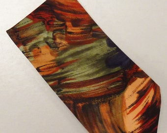 Designer Neck TIE SILK Peachchick Hand made Satin Swirls Painterly colors 1980s  Dead Stock 57x3 3/4 in