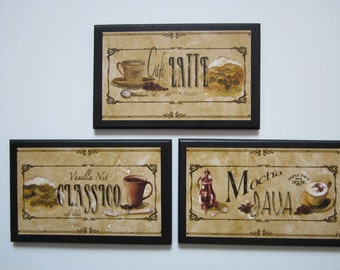 Coffee Lovers Plaques 3pc Java Coffee Pictures Mocha Classico Latte Kitchen