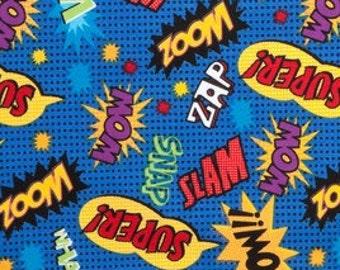 "SHORT PIECE Superhero Action Words Fabric - 15"" X 44"""