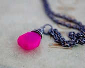 Hot Pink Necklace Chalcedony Fuchsia Wire Wrapped Sterling Silver Neon Under 50 Gifts Fluorescent Fashion Valentine