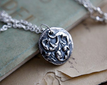 Embossed Pendant, Leaf Pendant, Filigree Pendant, Coin Pendant, Coin Necklace, Pendant Necklace, Fine Silver, Sterling Silver, PoleStar