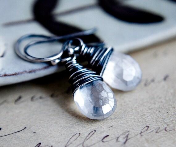 Angel Drop Earrings Gemstone Jewelry Quartz Sterling Silver Dangle