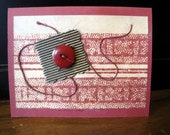Blank Mixed Media Maroon Colored Card