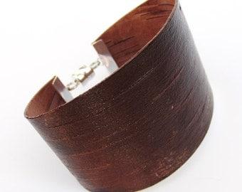 Birch bark wood bracelet in brown, The Chunky