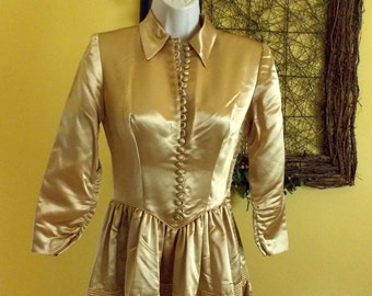Vintage heavy gold satin full length gown dress Fred Perlberg Dance Originals